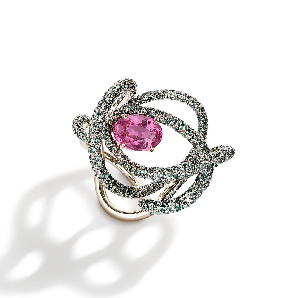 Kephi ring in pink sapphires and green garnets