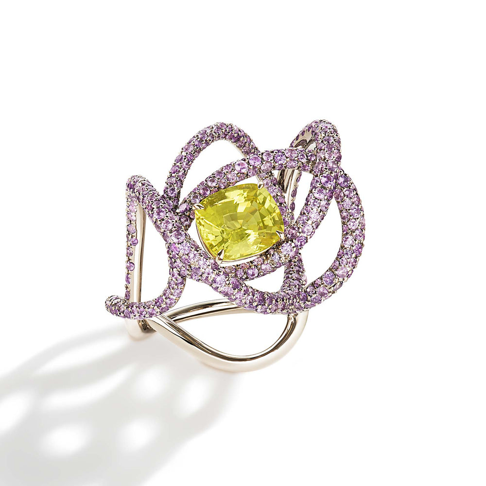 Kephi ring in yellow and purple sapphires