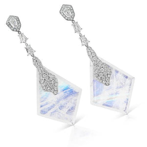 Load image into Gallery viewer, Yulong Glacial diamond and blue moonstone drop earrings