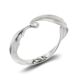Load image into Gallery viewer, Alissa 18K white gold leaf bangle with diamonds