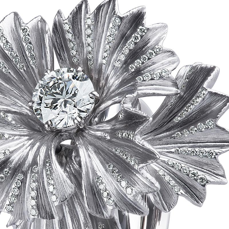 Load image into Gallery viewer, Amishi diamond ring in custom color rhodium finish over titanium and 18K white gold