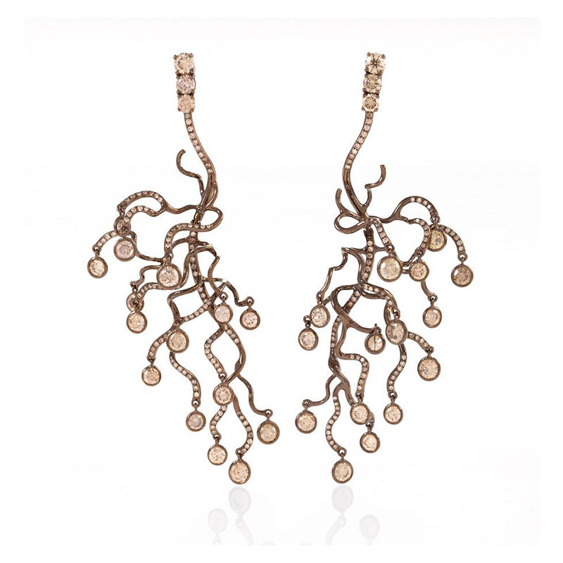 Anemone Rose Gold and Brown Diamond Chandelier Earrings