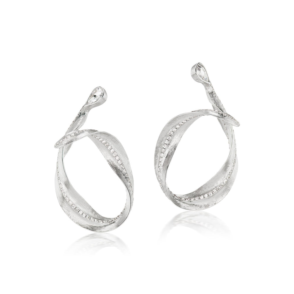 Callista 18K white gold and diamond hoop earrings