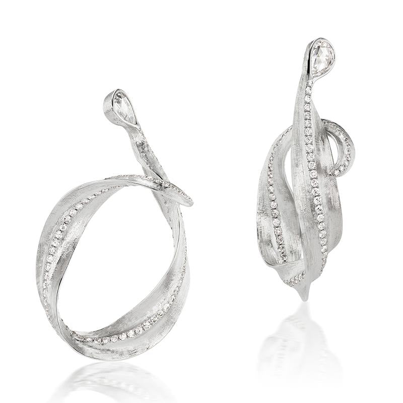 Load image into Gallery viewer, Callista 18K white gold and diamond hoop earrings