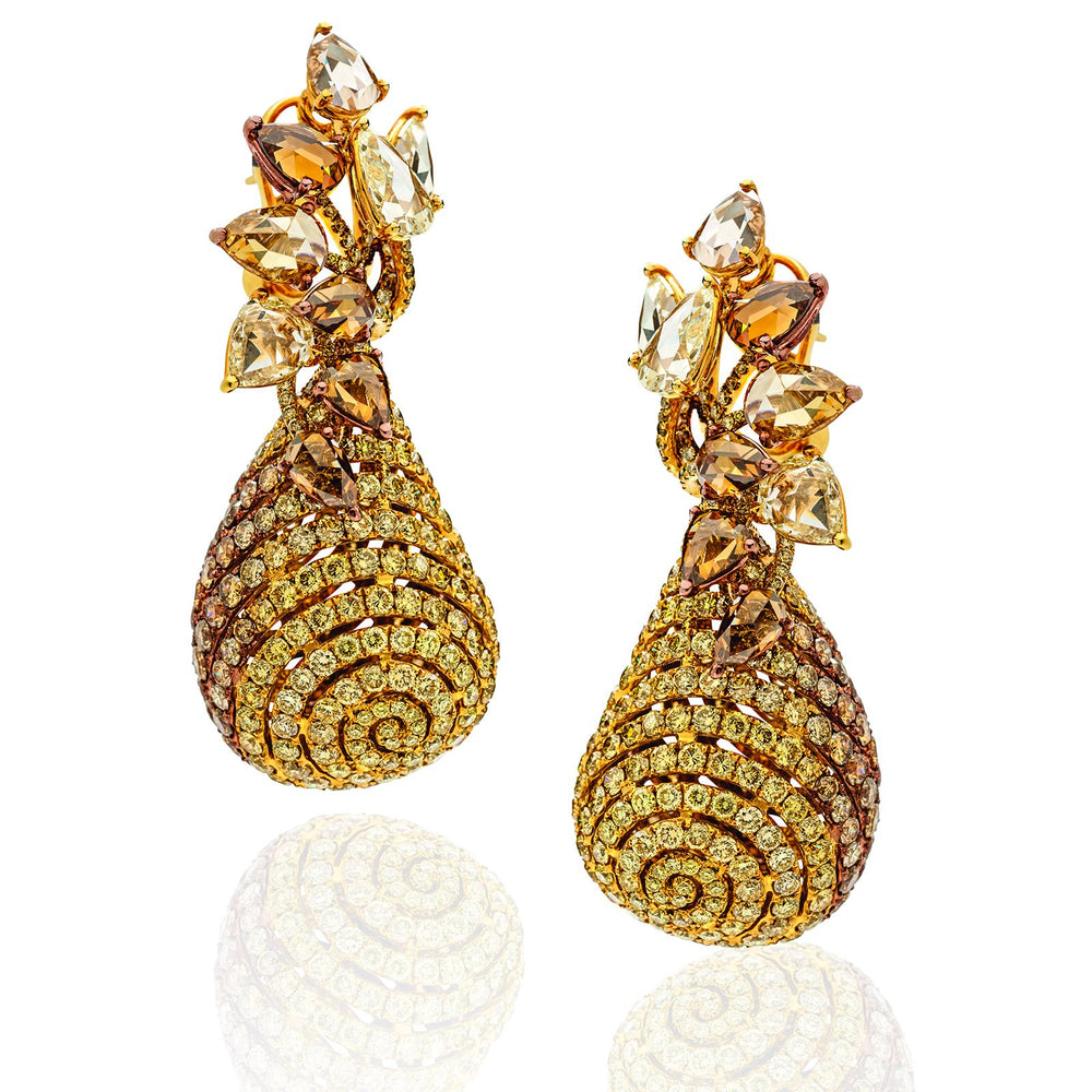 Evolving Hues earrings  in multiple shades of yellow and brown diamonds.