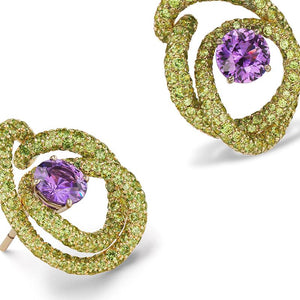Load image into Gallery viewer, Kalon ear clips with swirls of demantoid garnets and round purple sapphires