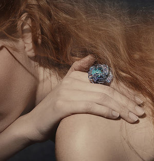 Nuray ring in colored gemstones and diamonds
