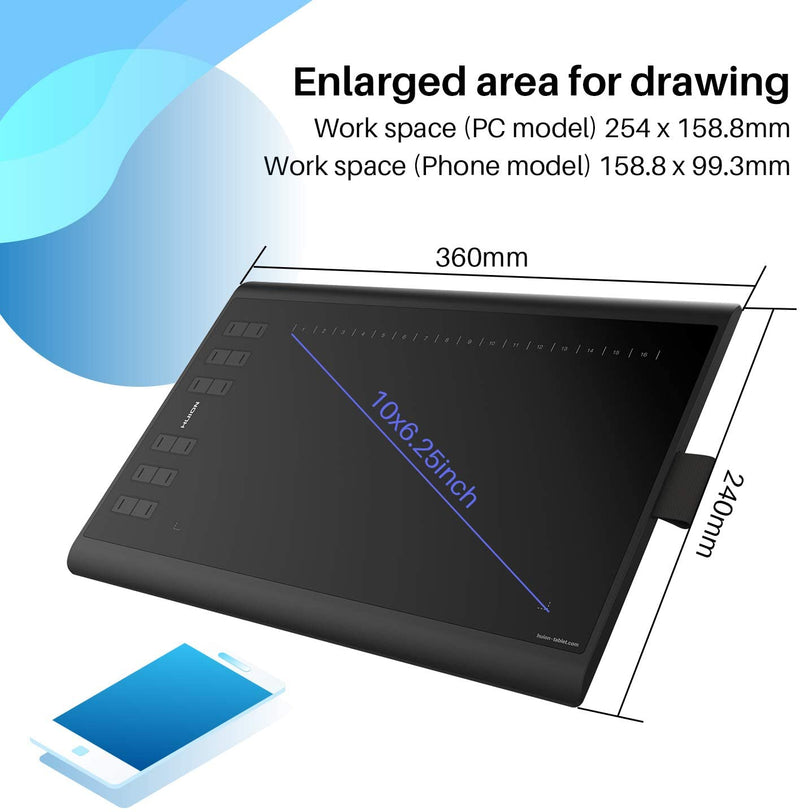 Huion Inspiroy H1060P Drawing Tablet with 12 Programmable Keys