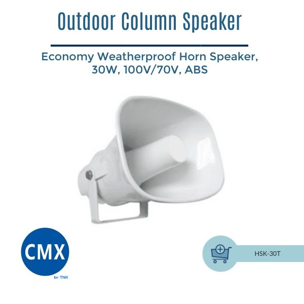 CMX Weatherproof Outdoor Horn Speaker, 30W ,ABS ,100V/70V