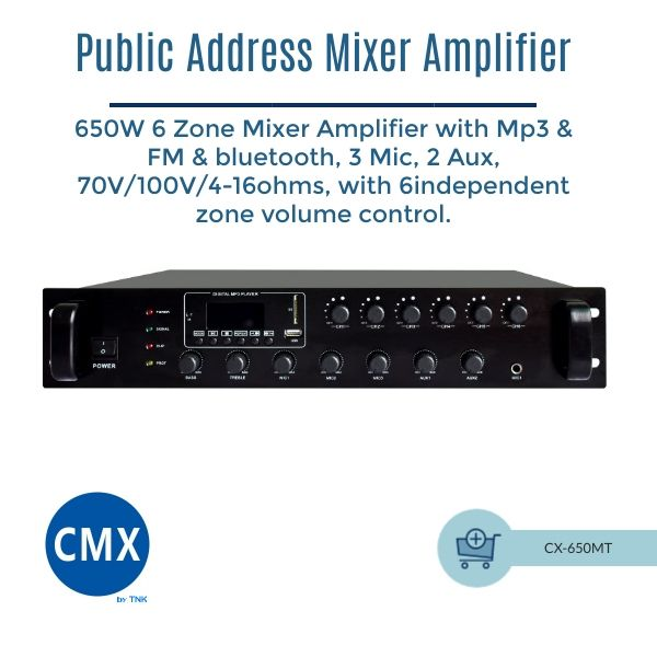 CMX CX-650MT 6 Zone Mixer Amplifier with Mp3 & Tuner & Bluetooth 650W