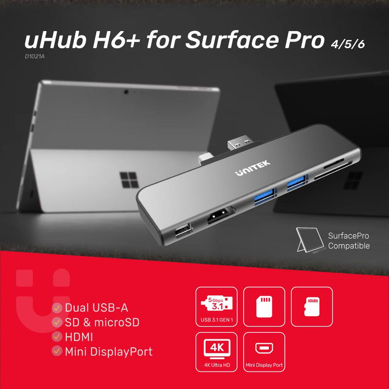 UNITEK uHUB H6+ for Surface Pro 4/5/6 6-in-1 Hub
