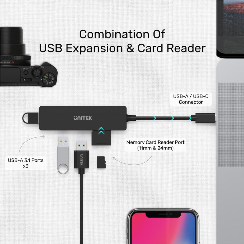 UNITEK uHUB Q4+ 4-Port USB C Hub 3-USB With Card Reader