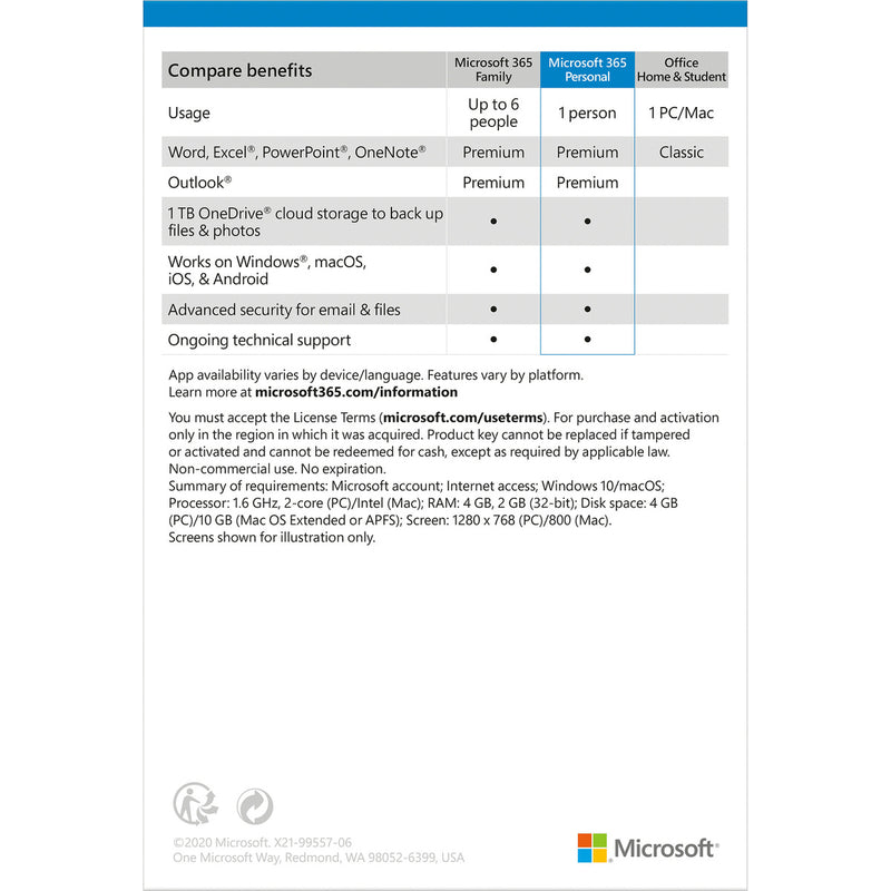 Microsoft Office 365 Personal (1-User License, 12-Month Subscription)