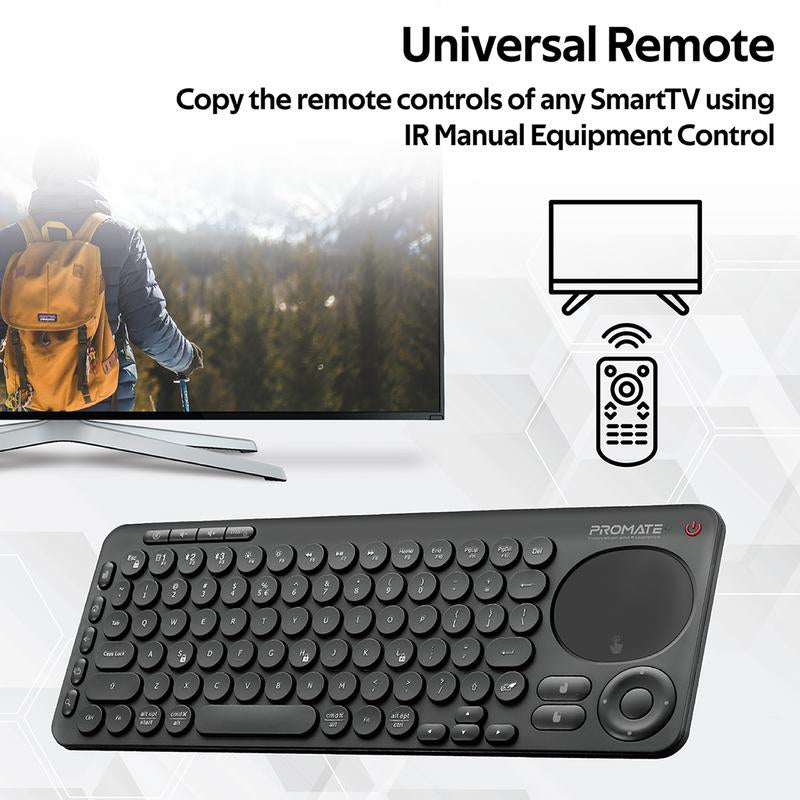 Promate Dual Mode Portable Wireless Multimedia Keyboard with Touchpad KeyPad-1