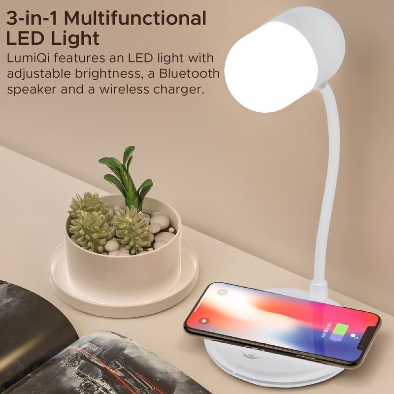 Promate LumiQi LED Table Lamp with Wireless Speaker and Wireless Charger