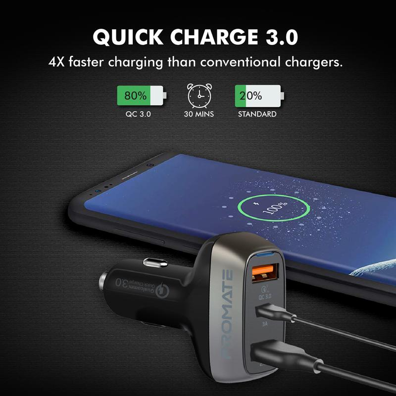 Promate 30W Car Charger with QC3.0 and 3A USB-C Port