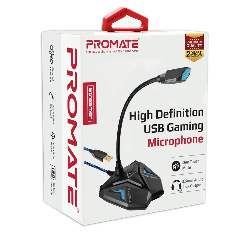 Promate High Definition USB Gaming Microphone Streamer