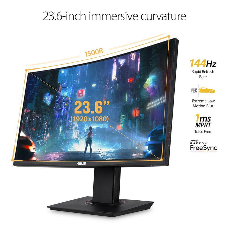 "ASUS 23.6"" TUF Gaming VG24VQ FHD Curved Monitor - 144Hz - 1ms"