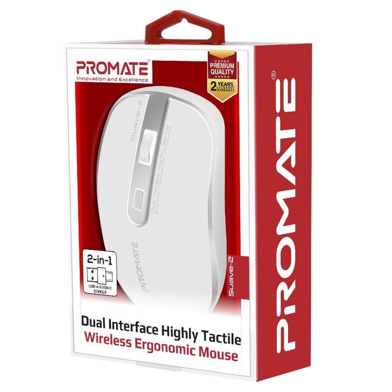 Promate Dual Interface Highly Tactile Wireless Ergonomic Mouse Suave-2