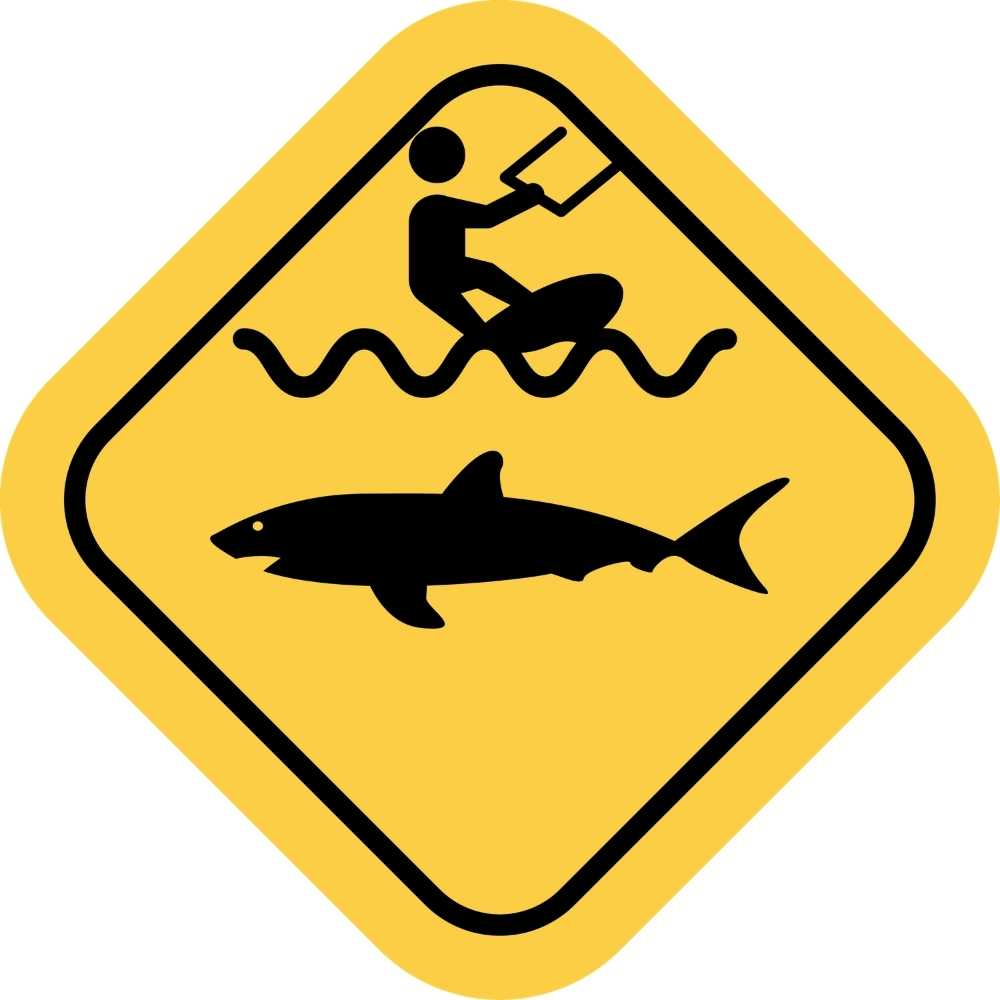 Caution Shark & Kitesurf sign