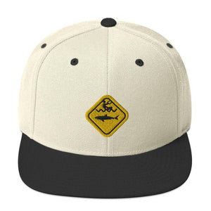 Caution Shark Snapback Hat - Cap - KitesurfingOfficial