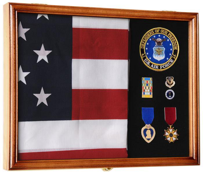 3x5, 4x6 Flag and Military Medals Display Case Cabinet - sfDisplay.com