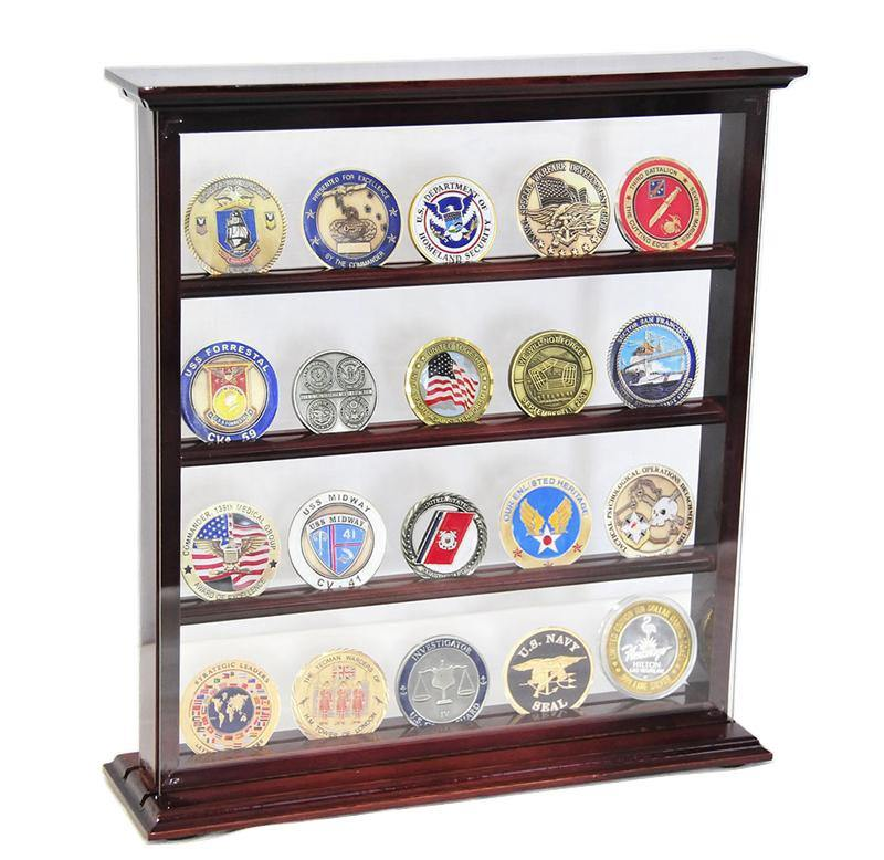 4 Shelves Military Challenge Coin Curio Stand Rack - sfDisplay.com