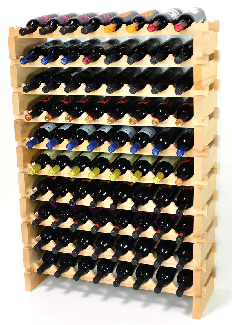 8X Bottles Beech Hardwood Modular Wine Rack Stackable (8 Bottles per Row) - sfDisplay.com