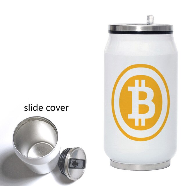 Bitcoin Travel Water Bottle 280ML Stainless Steel Coffee Vacuum Flask Portable Mug