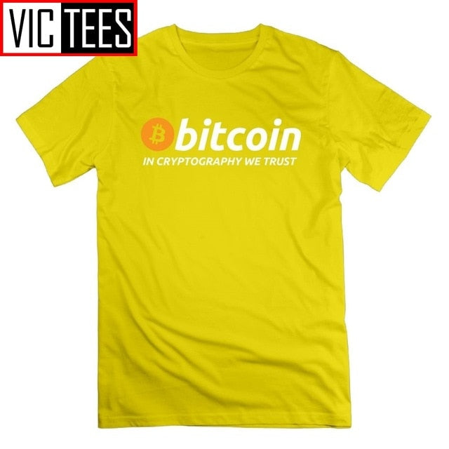 Bitcoin in Cryptography We Trust T Shirt Cryptocurrency Tees Men Round Collar Tops T-Shirt Large Size Short Cotton