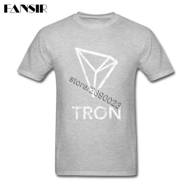 Vintage Tron Coin Cryptocurrency Short Sleeve T-shirt Adult Custom Made Camiseta Cotton Crew Neck Men T-shirt For Team