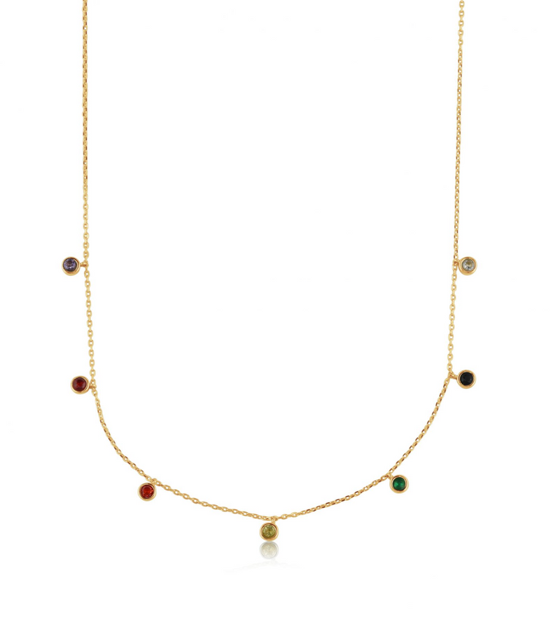 Iris Rainbow Stone Necklace - Gold