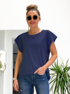 Davina Raw Edge Tee- Navy