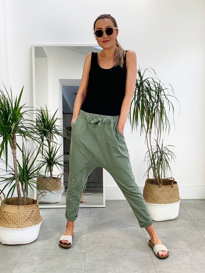 Take It Easy Harem Joggers - Olive Green