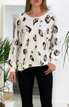 White aminal print sweate r