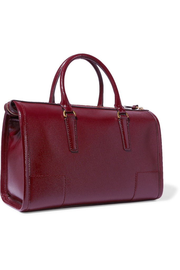 Britten patent textured-leather tote
