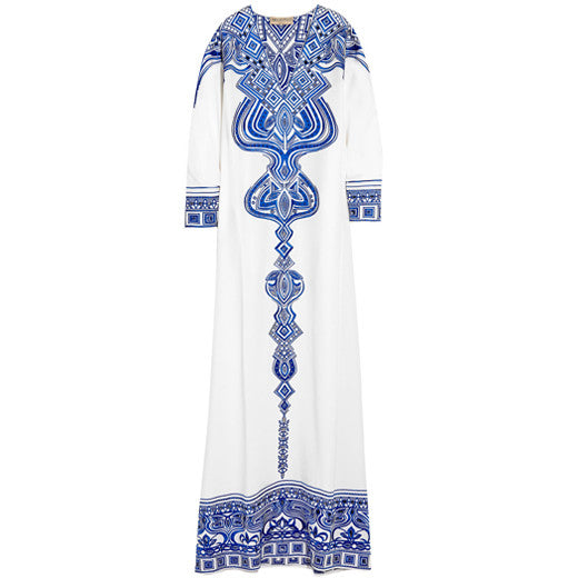Embroidered silk-cady kaftan