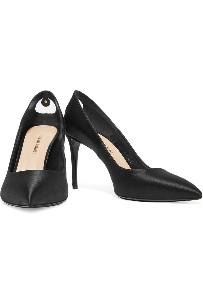 Angie cutout satin pumps