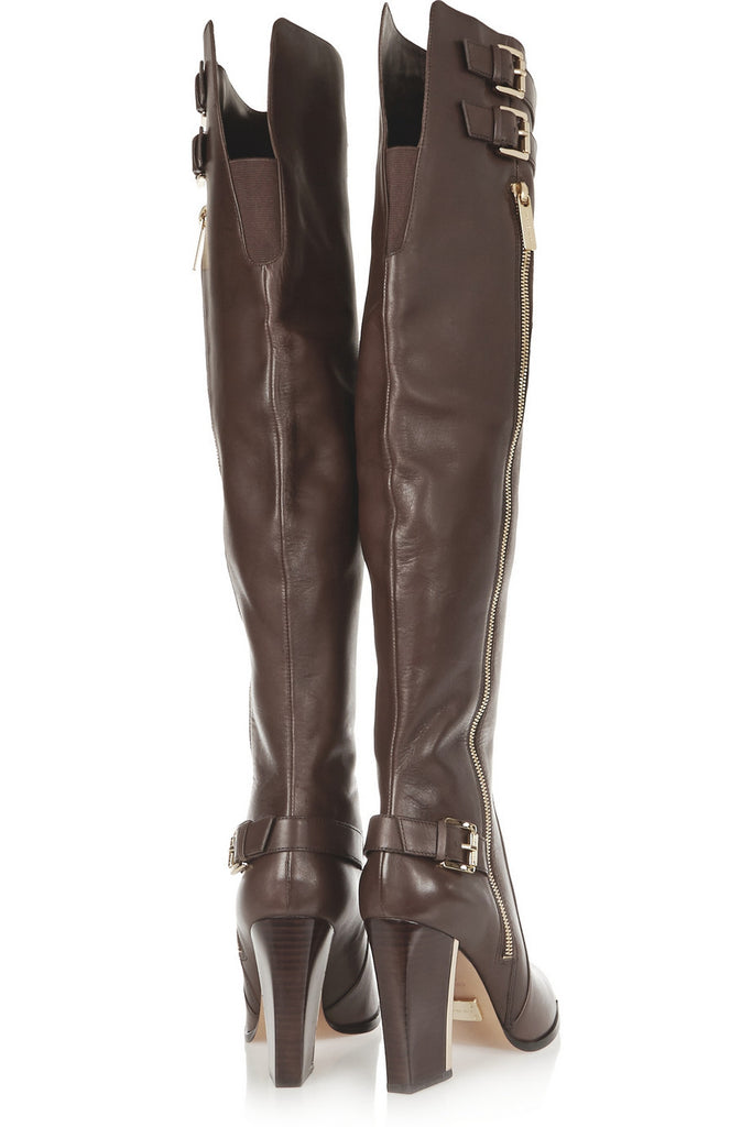 Jayla buckled leather over-the-knee boots