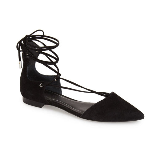 'Sage' Pointy Toe Ghillie Flat