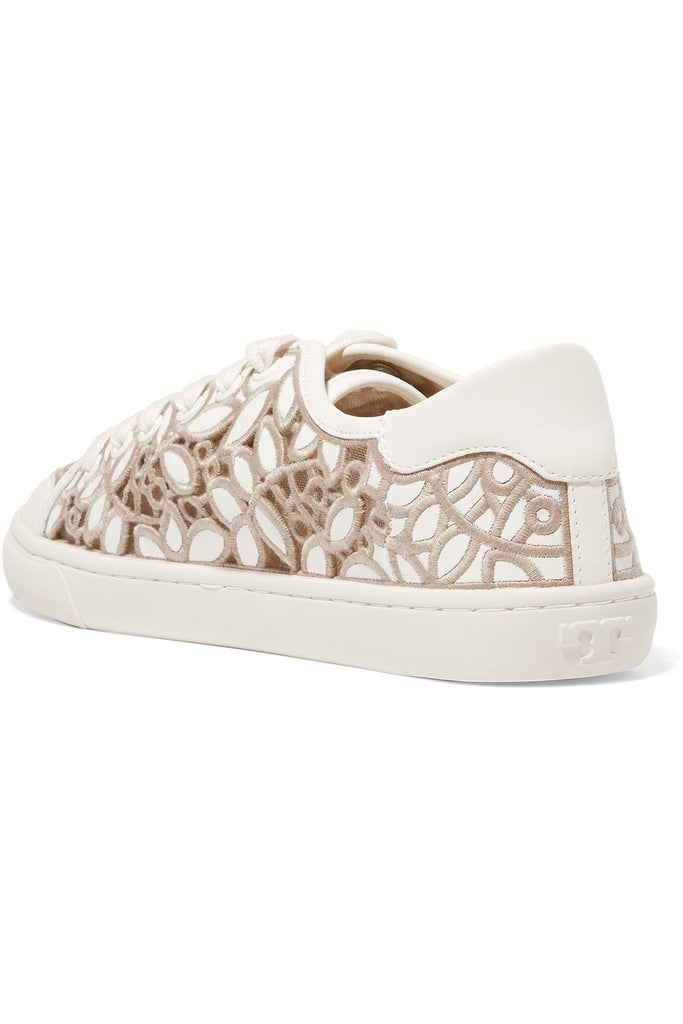 Crocheted, mesh and leather sneakers