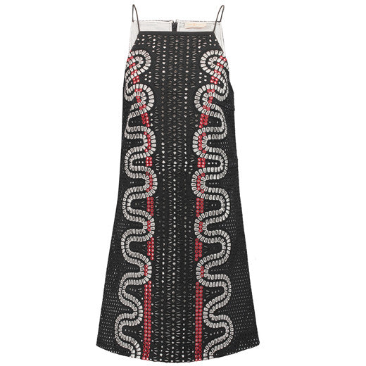 Embroidered laser-cut crepe mini dress