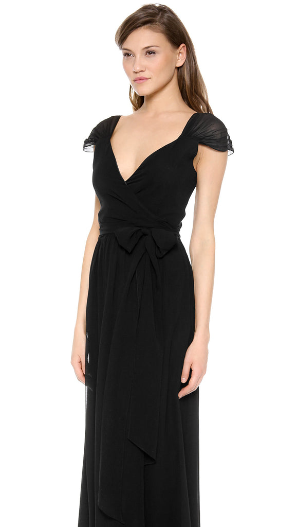 Newbury Cap Sleeve Wrap Dress