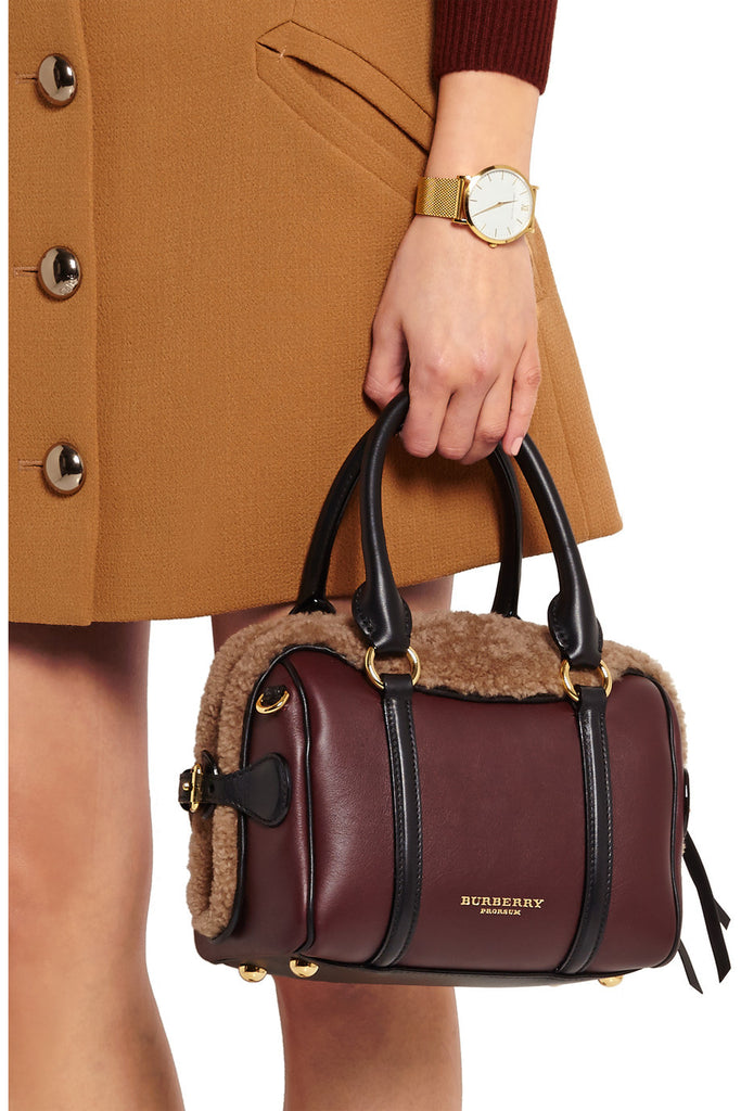 Prorsum shearling and leather tote