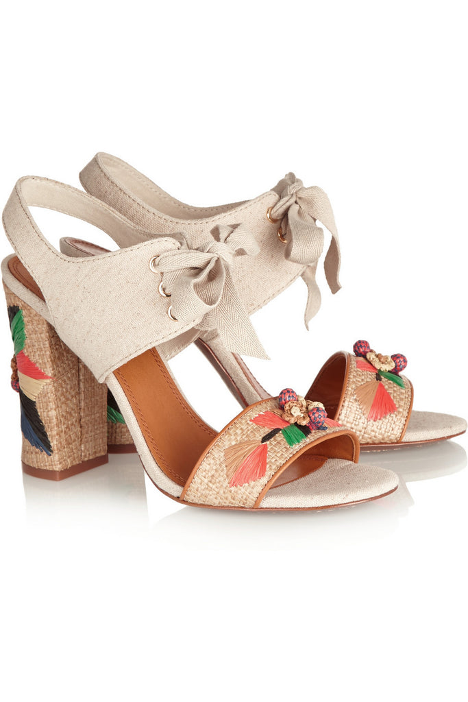 Geraldine embroidered raffia and canvas sandals