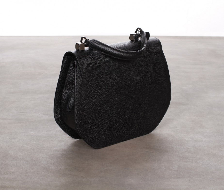 Black Leather Double Handle Shoulder bag