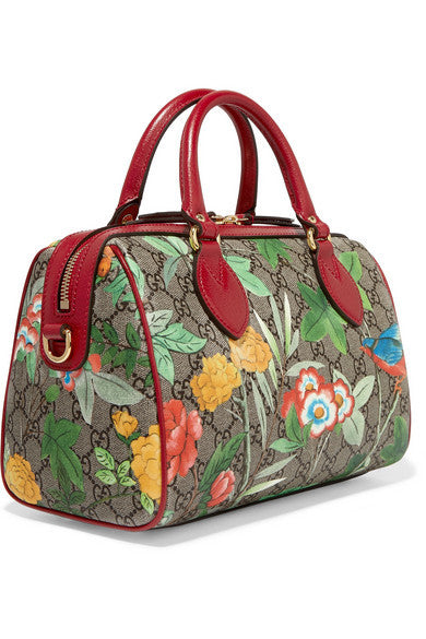 Linea A small textured leather-trimmed printed coated canvas duffle bag