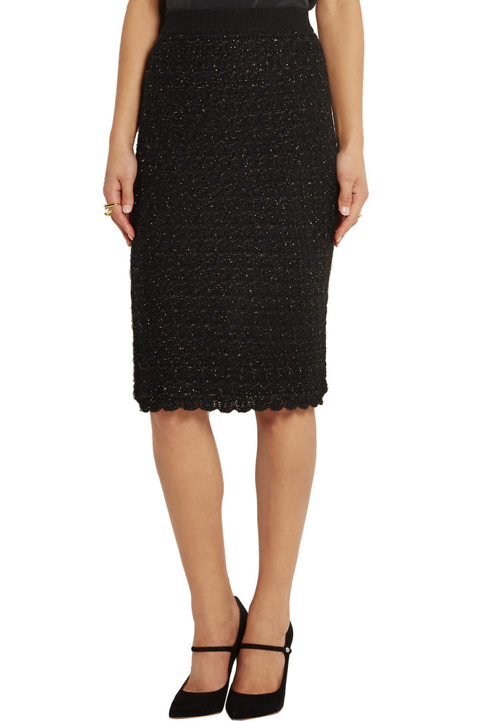 Metallic wool-blend bouclé pencil skirt
