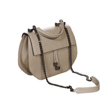 Khaki Leather Double Handle Shoulder bag