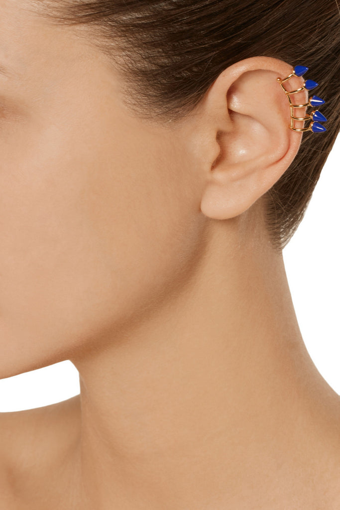 Nathalie gold-tone ear cuff and stud earring